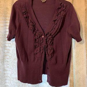 Purple ruffle front short sleeve cardigan